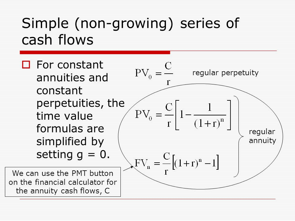 Simple (non-growing) series of cash flows