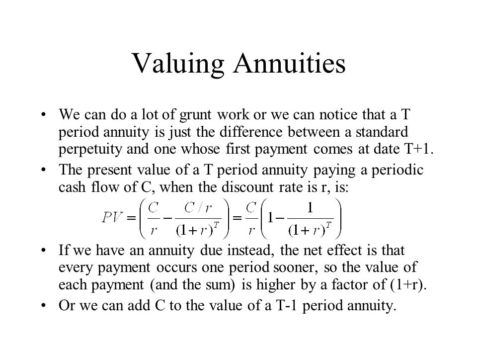 Valuing Annuities