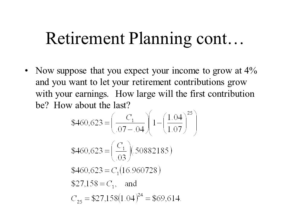 Retirement Planning cont…
