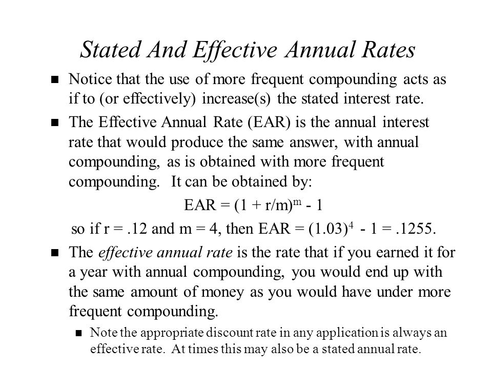 Stated And Effective Annual Rates