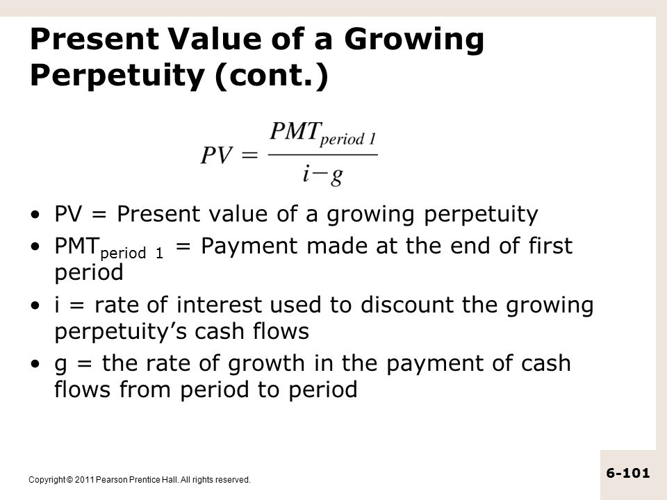 Present Value of a Growing Perpetuity (cont.)