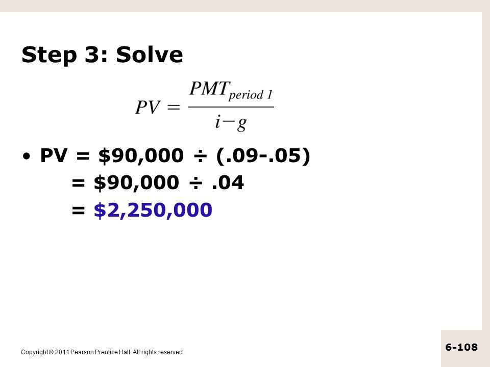 Step 3: Solve PV = $90,000 ÷ (.09-.05) = $90,000 ÷ .04 = $2,250,000