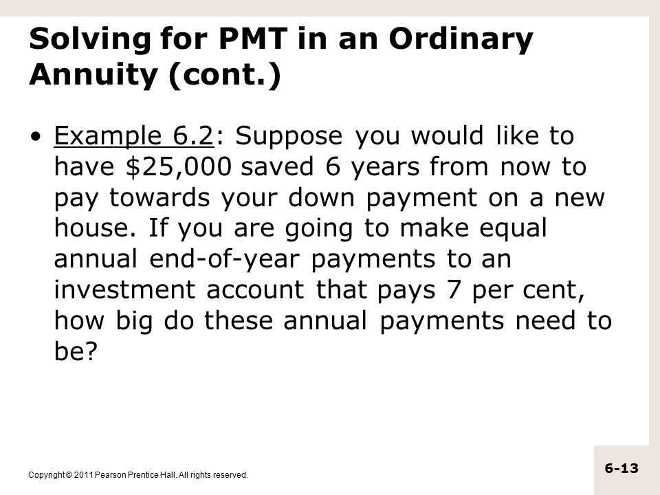 Solving for PMT in an Ordinary Annuity (cont.)