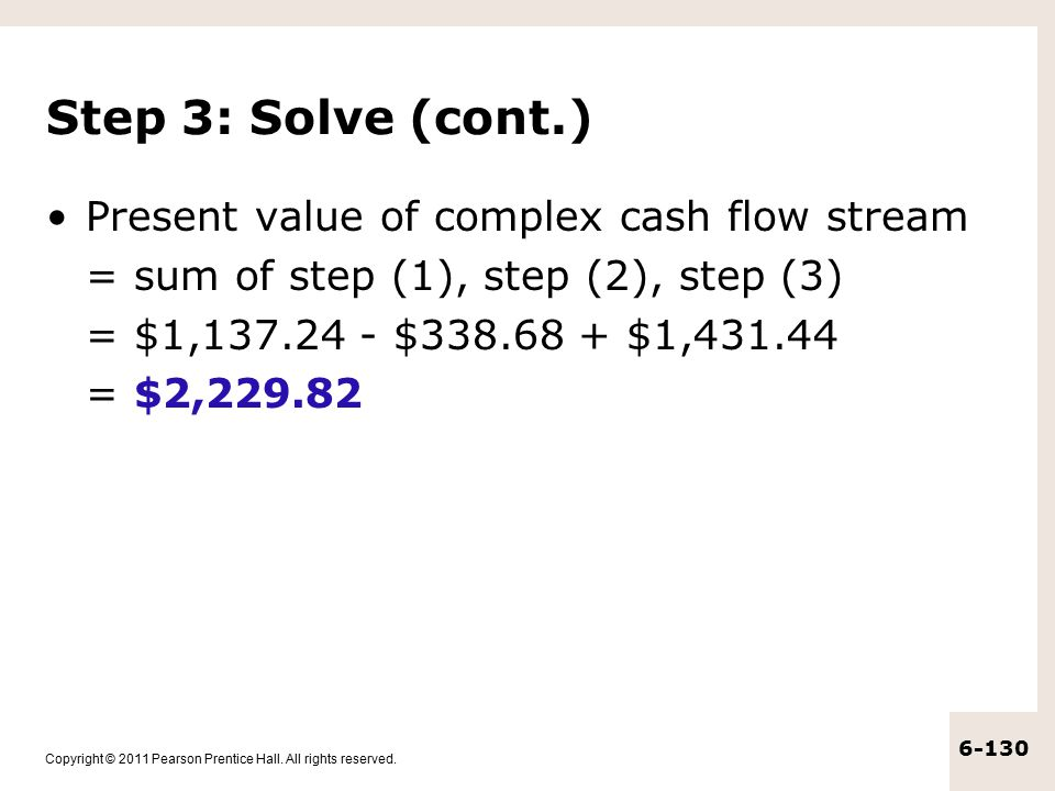 Step 3: Solve (cont.) Present value of complex cash flow stream