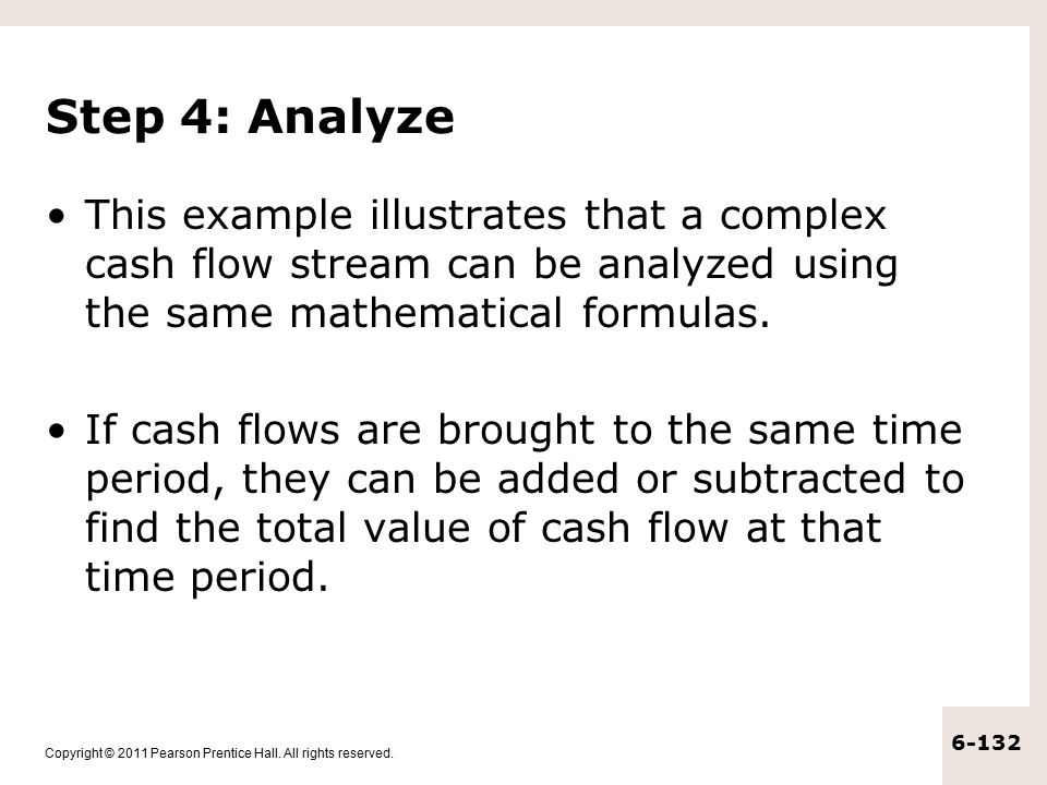 Step 4: Analyze This example illustrates that a complex cash flow stream can be analyzed using the same mathematical formulas.