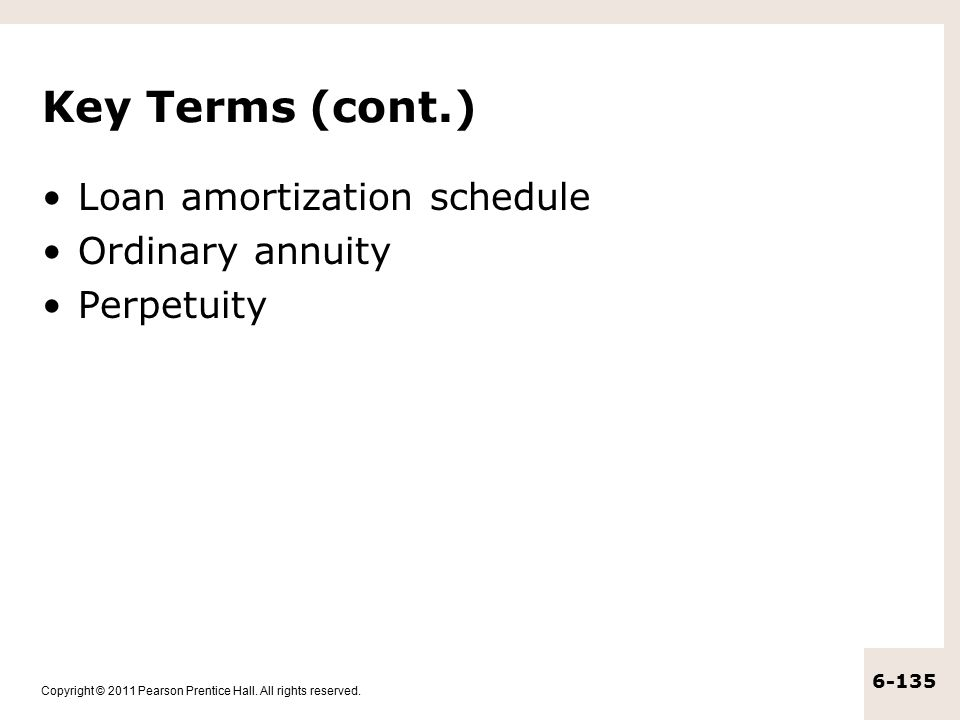 Key Terms (cont.) Loan amortization schedule Ordinary annuity