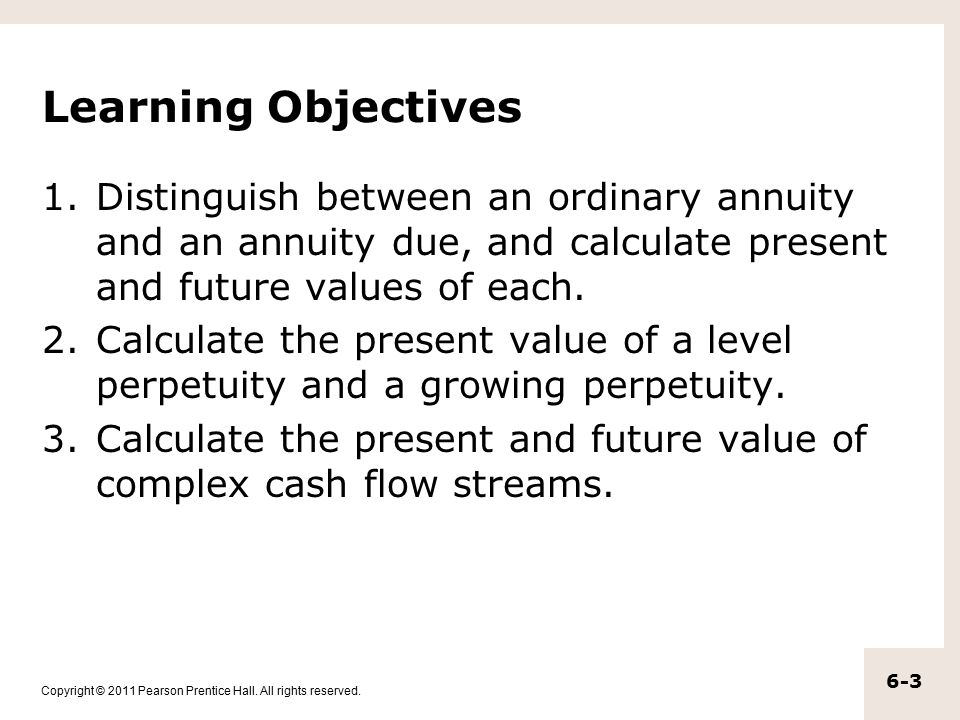 Learning Objectives Distinguish between an ordinary annuity and an annuity due, and calculate present and future values of each.