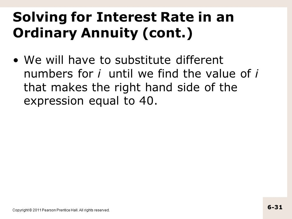 Solving for Interest Rate in an Ordinary Annuity (cont.)