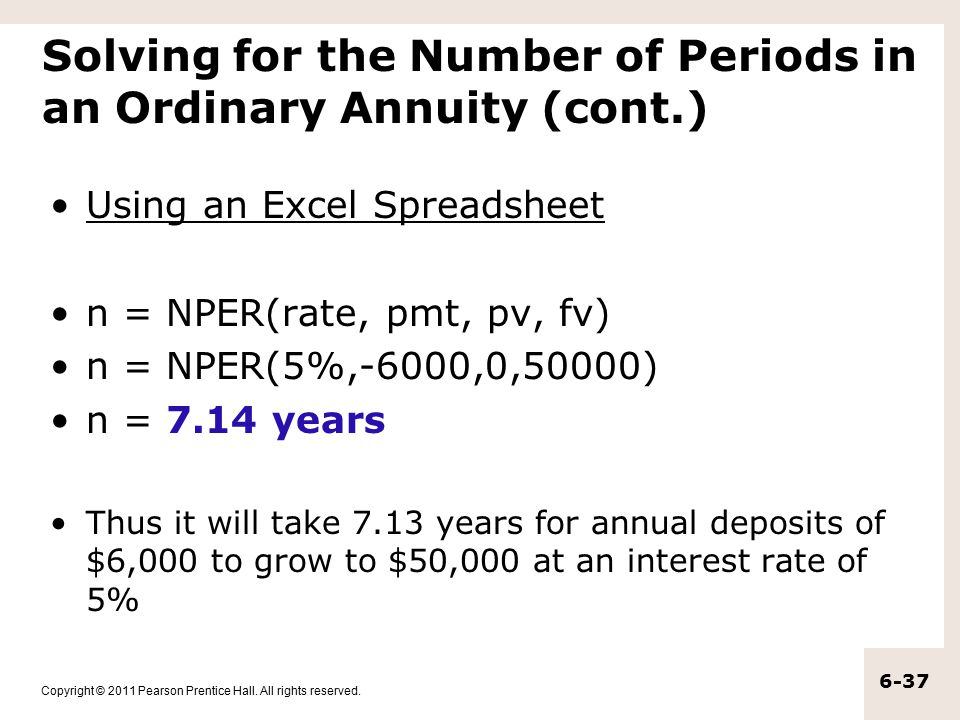 Solving for the Number of Periods in an Ordinary Annuity (cont.)
