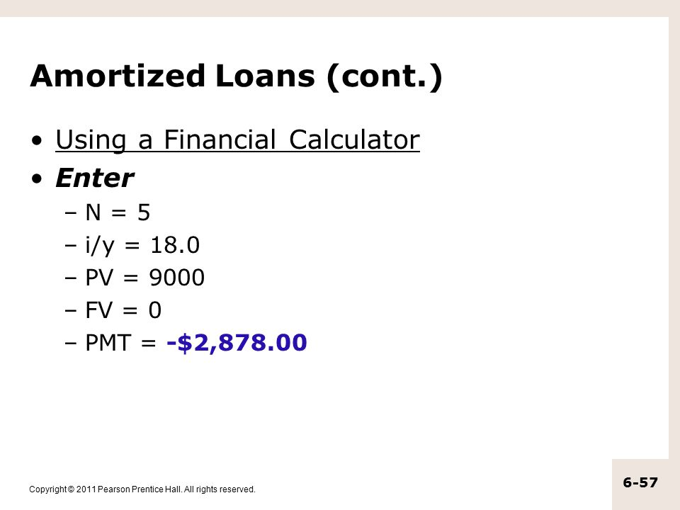 Amortized Loans (cont.)
