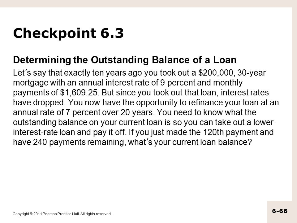Checkpoint 6.3 Determining the Outstanding Balance of a Loan