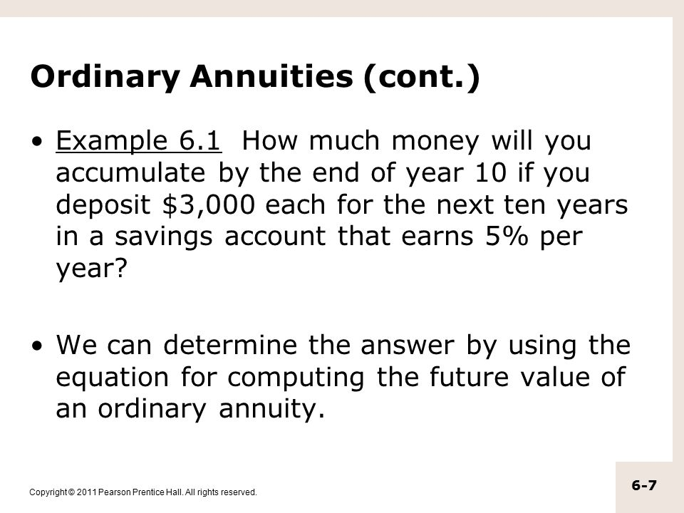Ordinary Annuities (cont.)