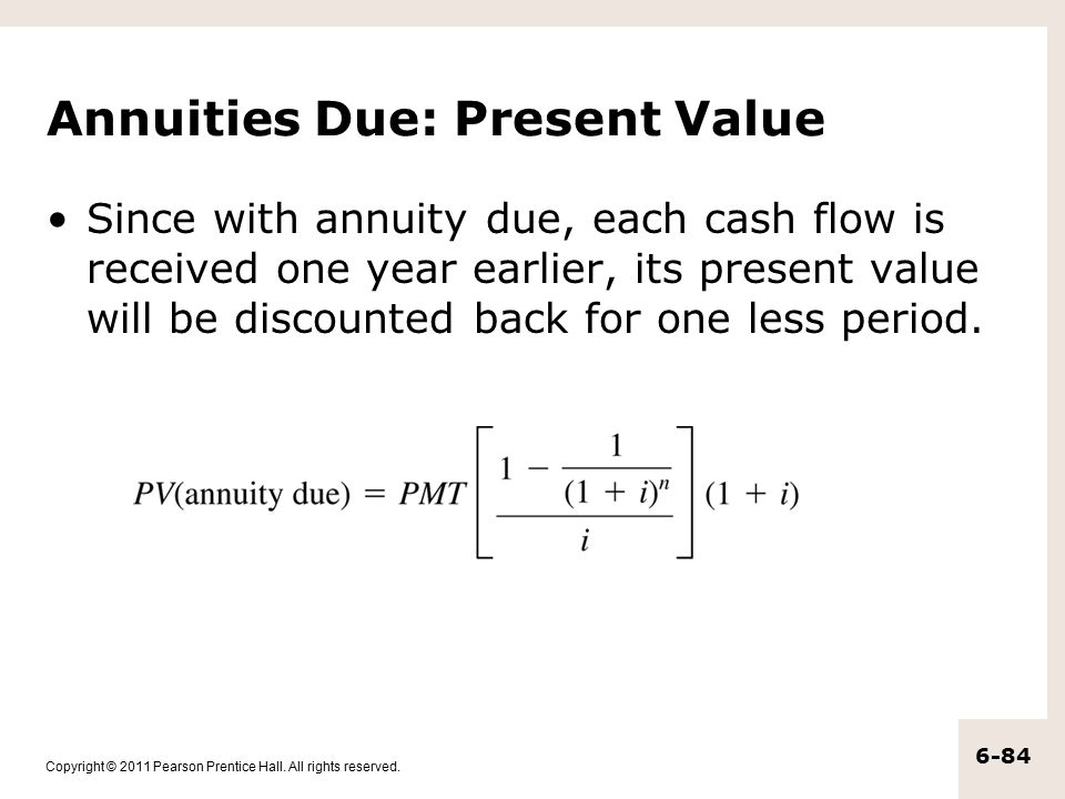Annuities Due: Present Value