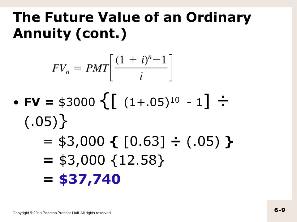 The Future Value of an Ordinary Annuity (cont.)