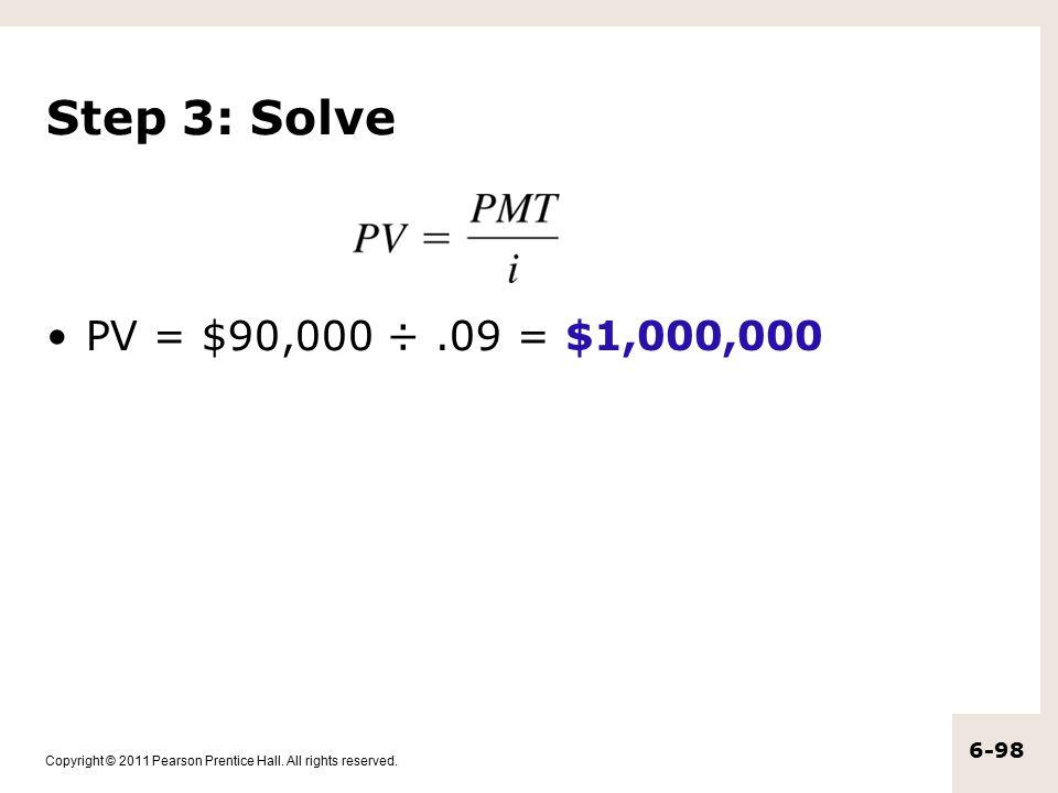 Step 3: Solve PV = $90,000 ÷ .09 = $1,000,000