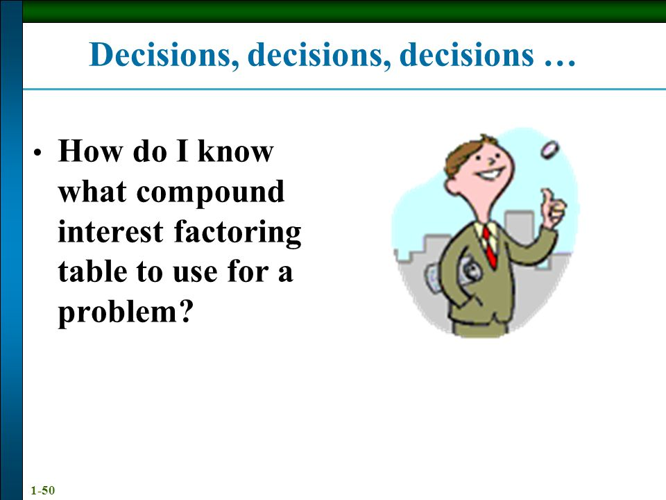 Decisions, decisions, decisions …