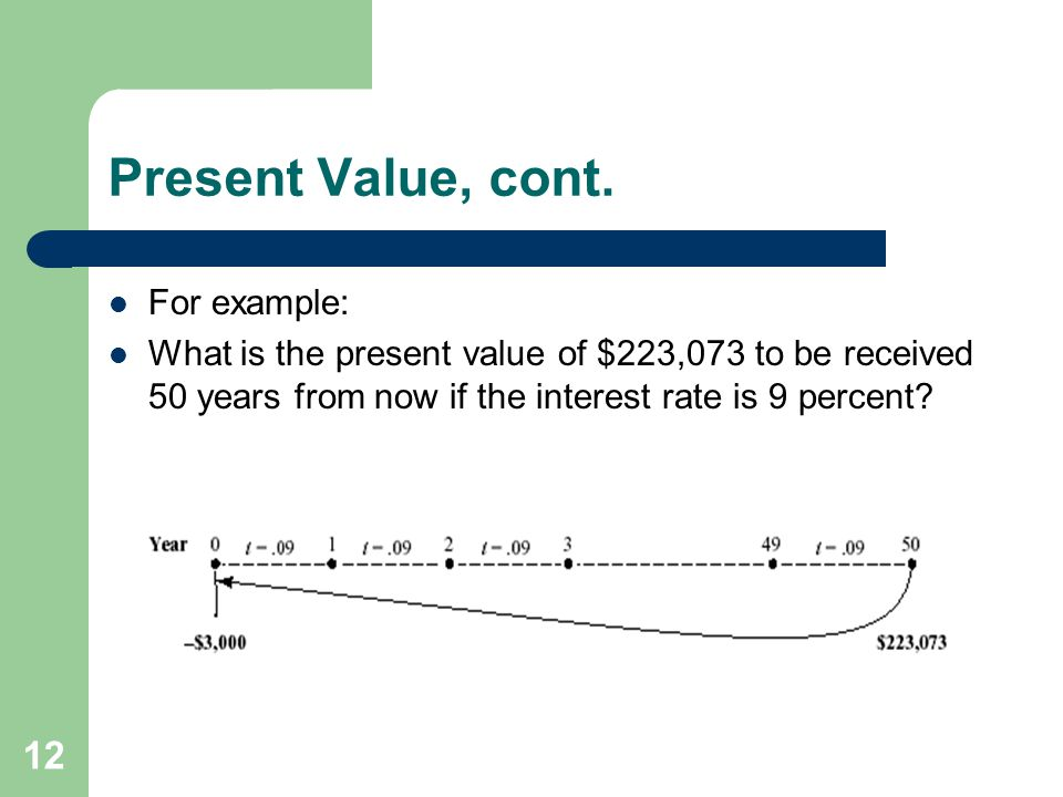 Present Value, cont. For example: