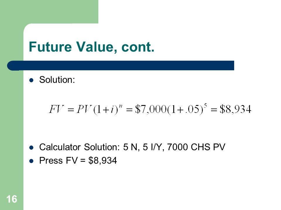 Future Value, cont. Solution: