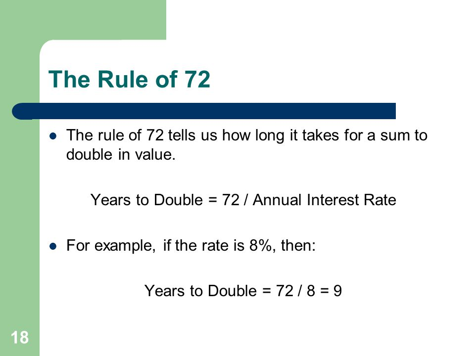 Years to Double = 72 / Annual Interest Rate