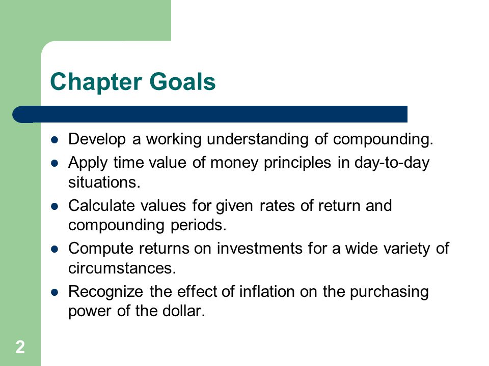 Chapter Goals Develop a working understanding of compounding.