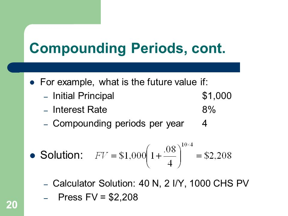 Compounding Periods, cont.