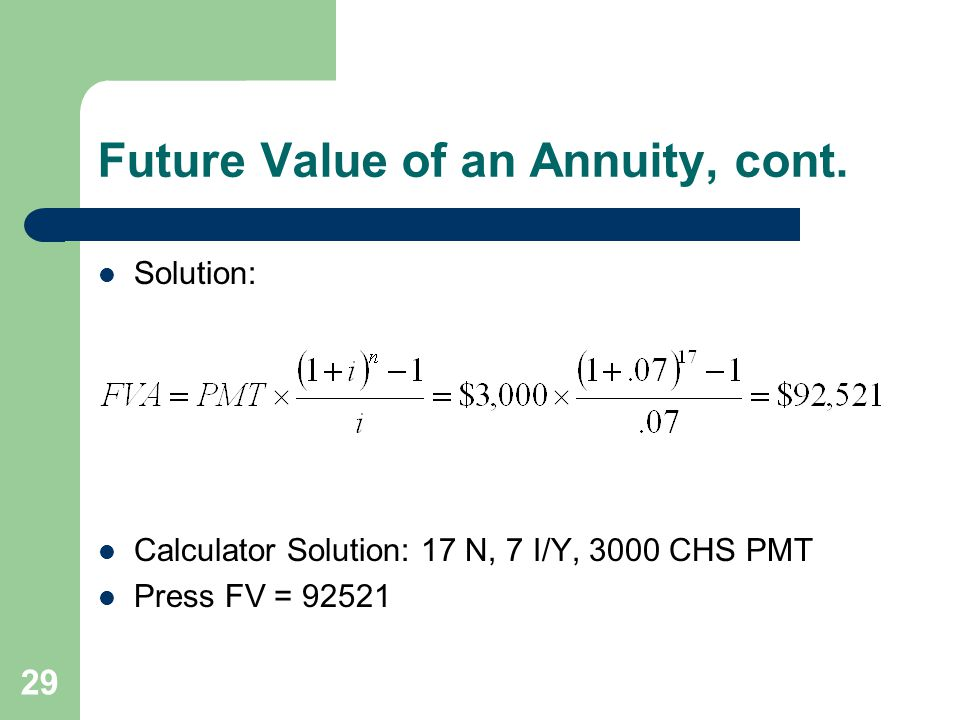 Future Value of an Annuity, cont.
