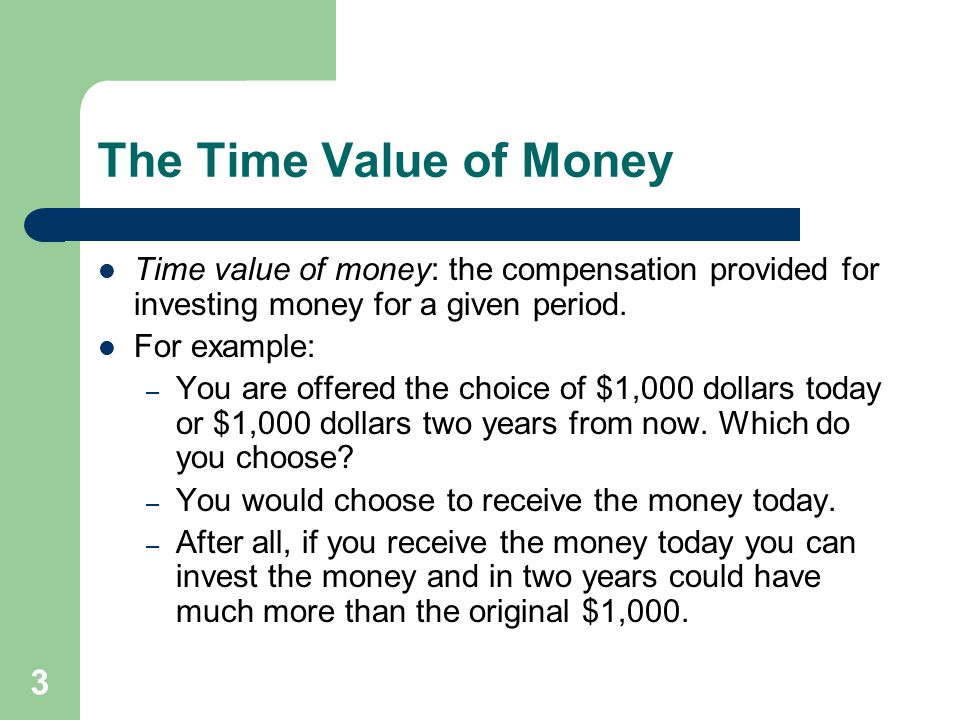 The Time Value of Money Time value of money: the compensation provided for investing money for a given period.