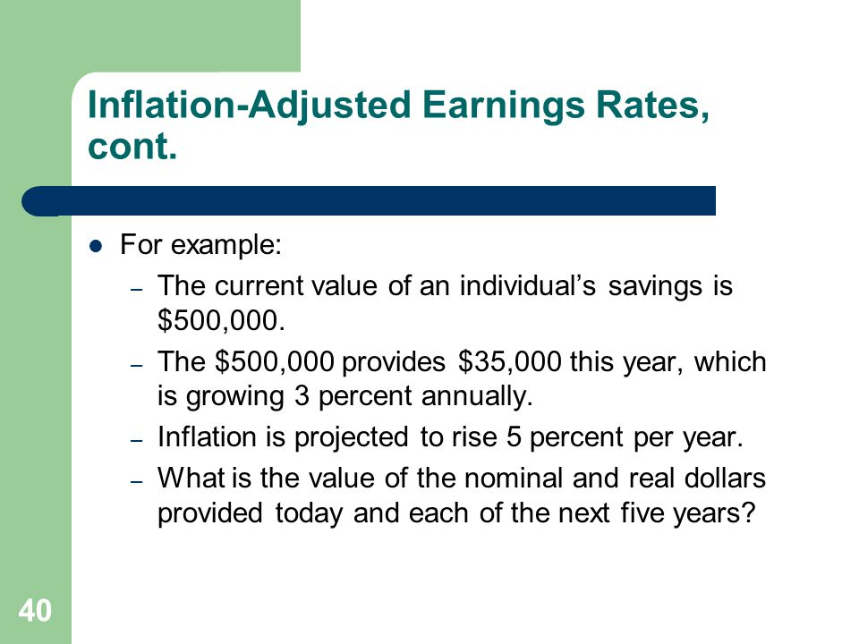 Inflation-Adjusted Earnings Rates, cont.