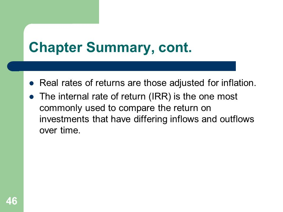 Chapter Summary, cont. Real rates of returns are those adjusted for inflation.