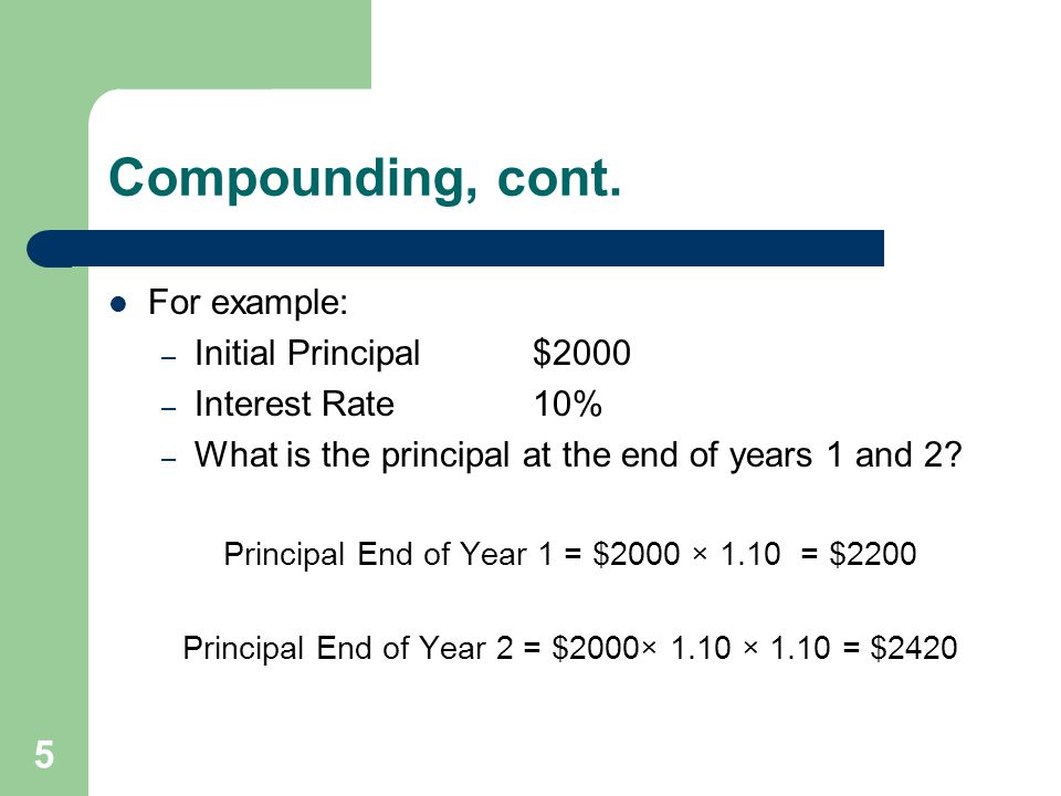 Compounding, cont. For example: Initial Principal $2000