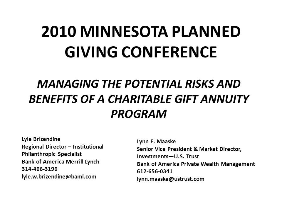 2010 MINNESOTA PLANNED GIVING CONFERENCE