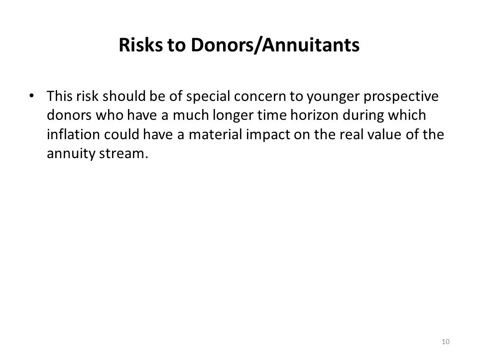 Risks to Donors/Annuitants