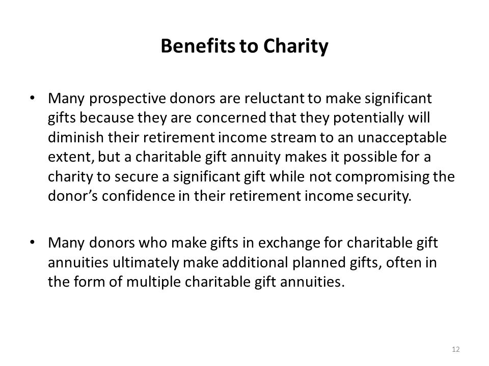 Benefits to Charity