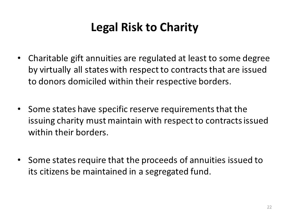 Legal Risk to Charity