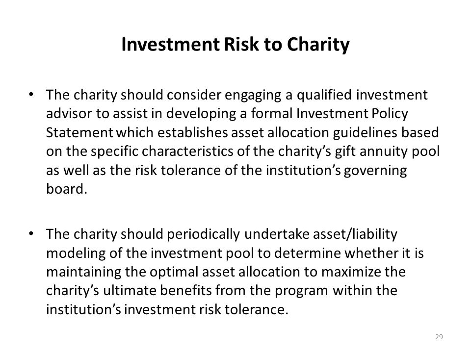 Investment Risk to Charity