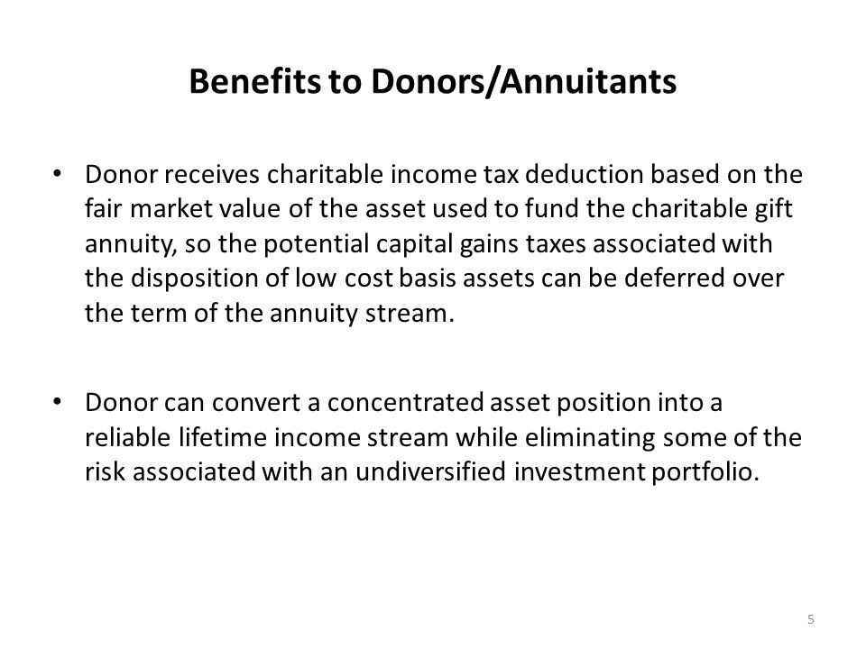 Benefits to Donors/Annuitants