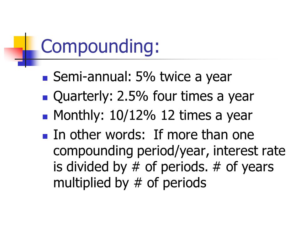 Compounding: Semi-annual: 5% twice a year