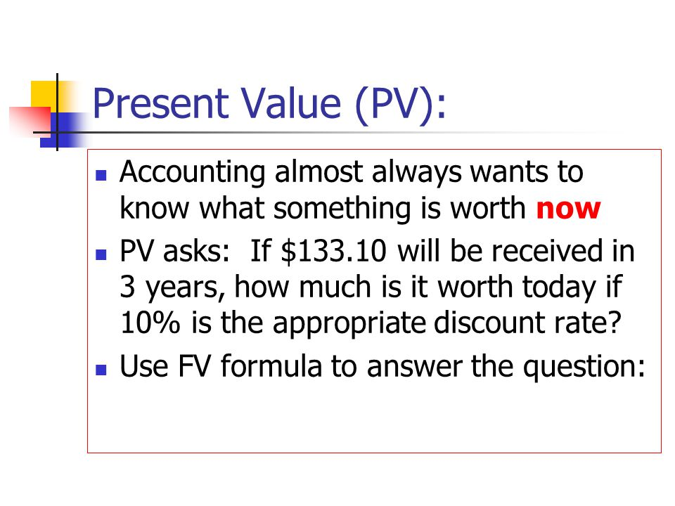 Present Value (PV): Accounting almost always wants to know what something is worth now.