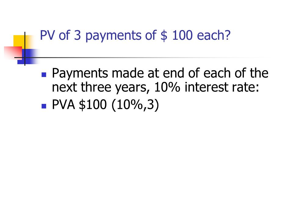 PV of 3 payments of $ 100 each Payments made at end of each of the next three years, 10% interest rate: