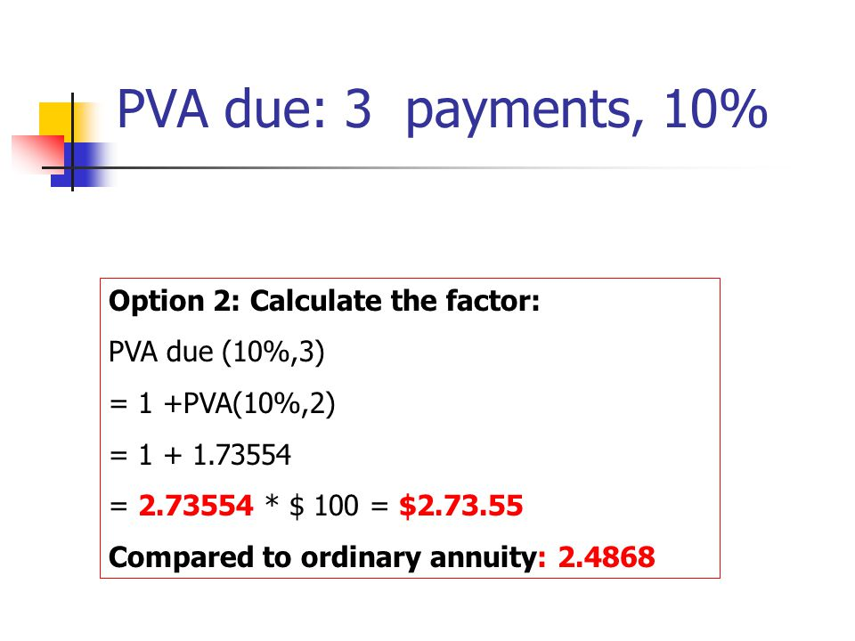 PVA due: 3 payments, 10% Option 2: Calculate the factor: