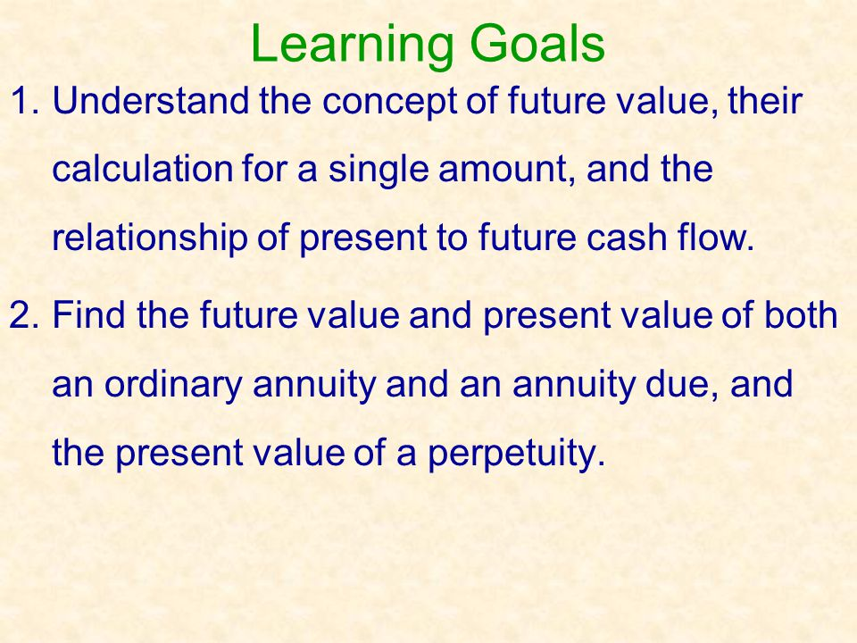 Learning Goals 1. Understand the concept of future value, their calculation for a single amount, and the relationship of present to future cash flow.