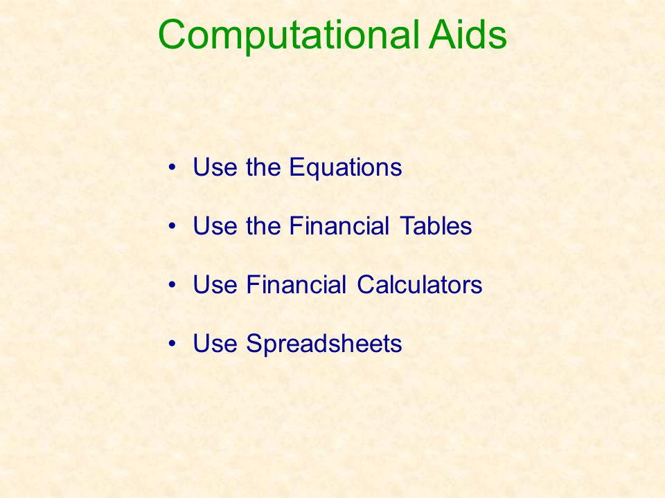 Computational Aids Use the Equations Use the Financial Tables