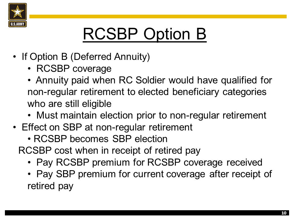 RCSBP Option B If Option B (Deferred Annuity) RCSBP coverage