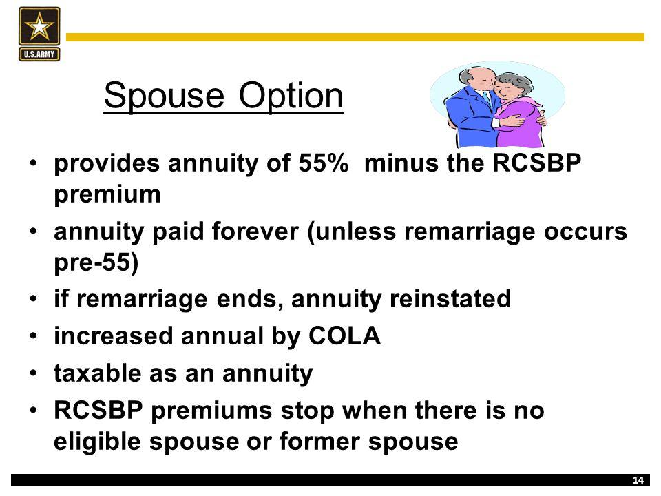 Spouse Option provides annuity of 55% minus the RCSBP premium