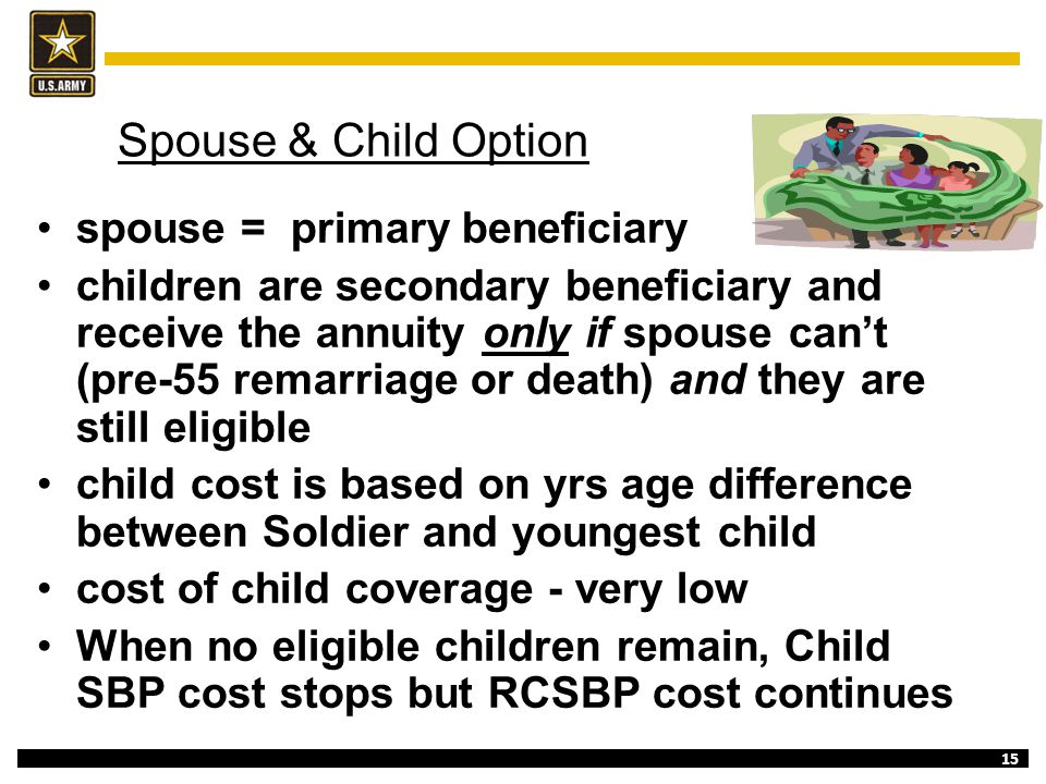 Spouse & Child Option spouse = primary beneficiary
