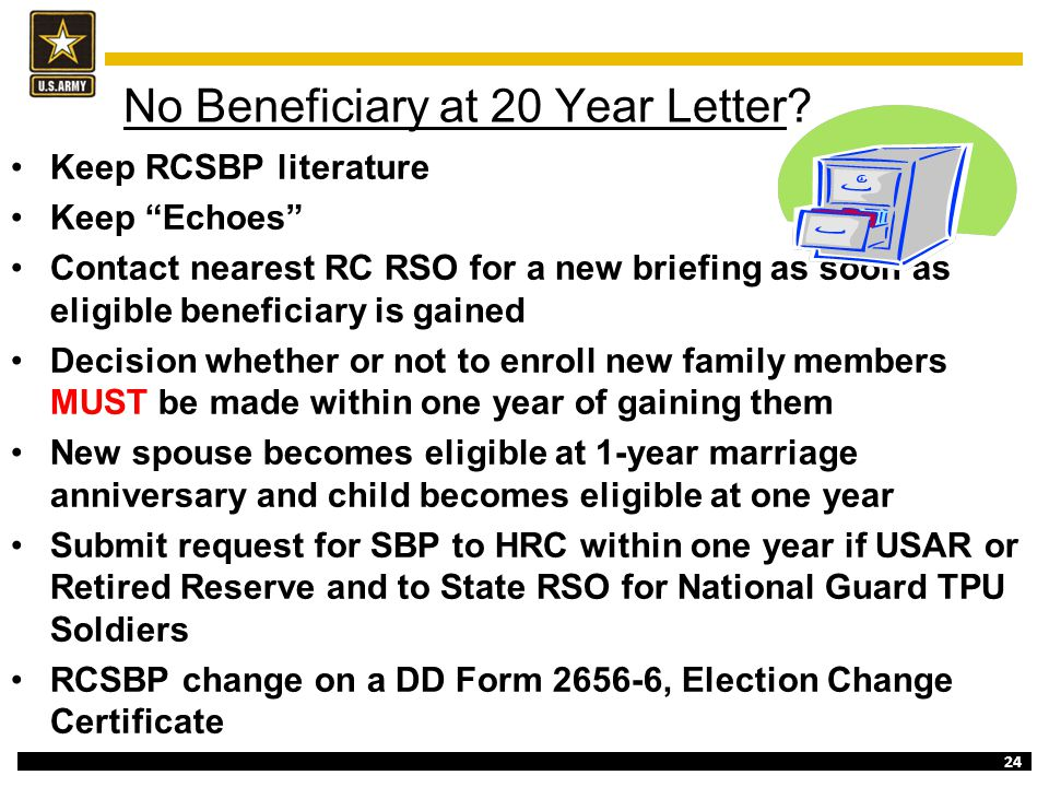 No Beneficiary at 20 Year Letter