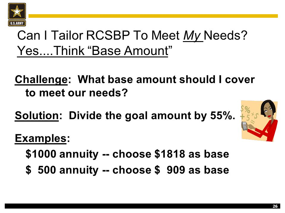 Can I Tailor RCSBP To Meet My Needs Yes....Think Base Amount