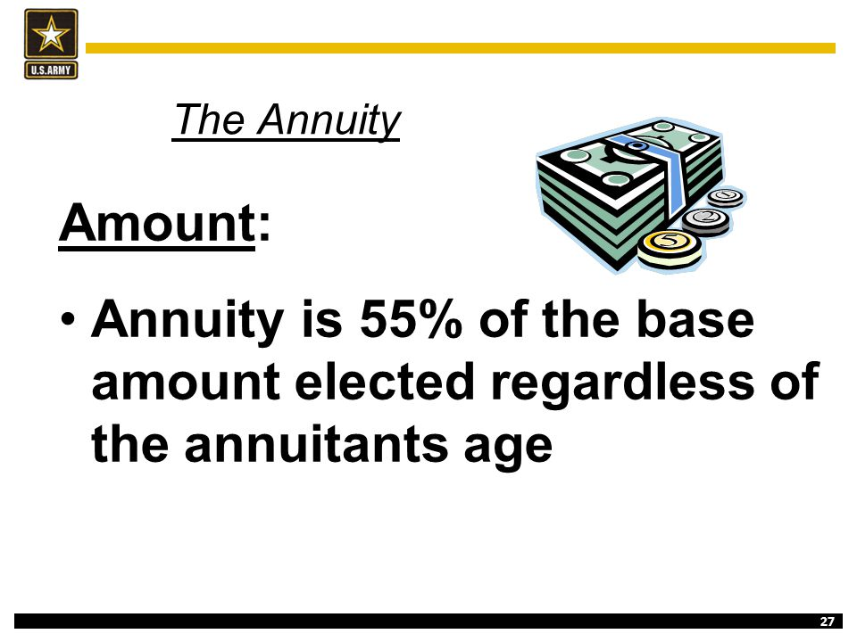 The Annuity Amount: Annuity is 55% of the base amount elected regardless of the annuitants age.