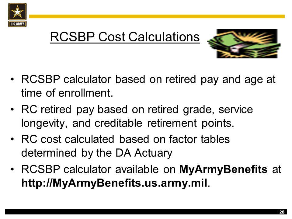 RCSBP Cost Calculations
