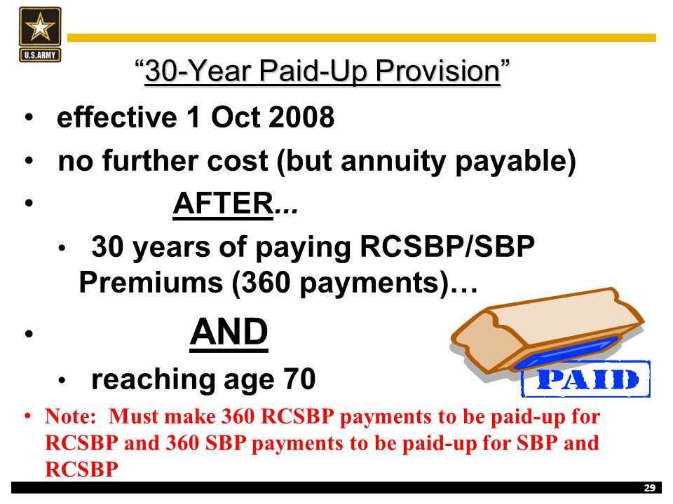 30-Year Paid-Up Provision